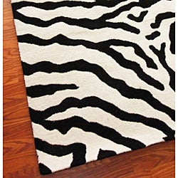 Alexa Zebra Animal Pattern Black/ White Wool Rug (5' x 8')