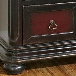 Hand-painted Ruby and Brown Accent Chest