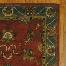 Indian Red/ Green Wool Rug (3'3 x 5'3)