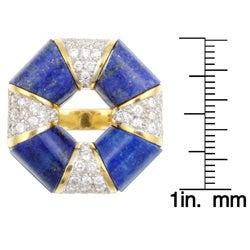 18k Gold Lapis and 1 1/4ct TDW Diamond Estate Ring (J, SI1) (Size 7)