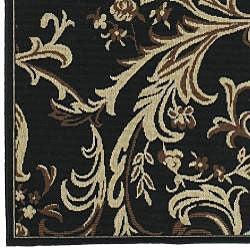 Cafe Black/Brown/Tan Floral Indoor/Outdoor Rug (5'3 x 7'6)