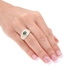 Black Hills Gold and Sterling Silver Green Obsidianite Ring