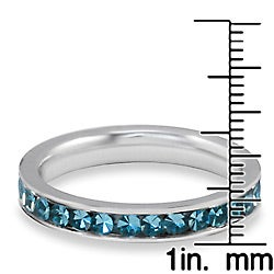 West Coast Jewelry Stainless Steel Polished Teal Cubic Zirconia Band Ring