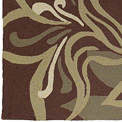 Hand-hooked Tropic Brown Synthetic Rug (5' x 8')