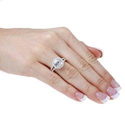 14k White Gold 1ct TDW Mosaic Diamond Split Shank Halo Ring (H-I, SI1)