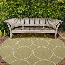 Hand-hooked Bliss Outdoor Sage Indoor/Outdoor Moroccan Trellis Rug (9' x 12')