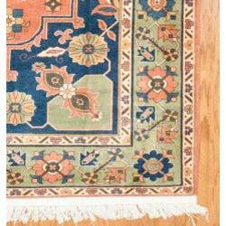 Afghani Hand-knotted Orange/ Green Oushak Wool Rug (7'3 x 9'4)