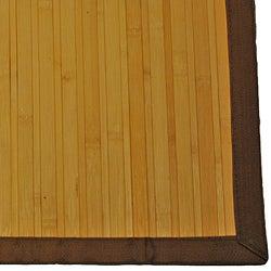Asian Hand-woven Light Natural Stripe Bamboo Rug (2' x 3')
