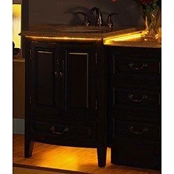 Silkroad Exclusive Travertine 46.5-inch Bathroom LED Lighted Single Vanity and Cabinet