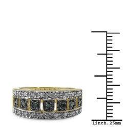 Malaika Sterling Silver 1/3ct TDW Blue and White Diamond Cocktail Ring (I-J, I2-I3)