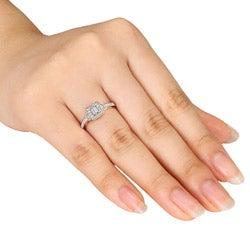 Miadora 10k Yellow Gold 1/3ct TDW Diamond Halo Ring (G-H, I1-I2)