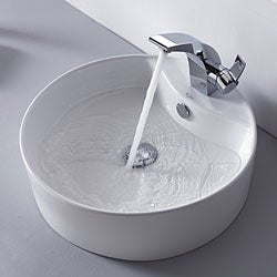 Kraus Illusio Single Lever Basin Faucet and Pop Up Drain with Overflow Chrome