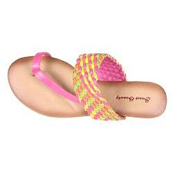 Refresh by Beston Women's 'Tokyo-15' Fuchsia Multicolor Braided Thong Sandal
