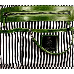 Vintage Reign 'Dolores' Green Fringe Leather Satchel