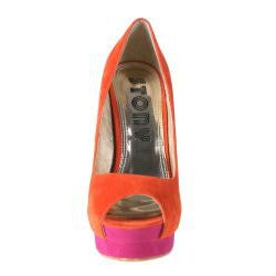 Refresh by Beston Women's 'Paige' Orange Peep-toe Pumps
