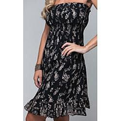 Stanzino Women's Branching Leaves Strapless Black Dress