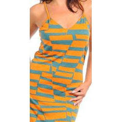 Stanzino Women's Plus Orange Printed Maxi Dress