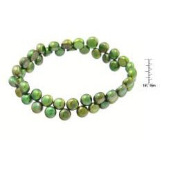 Green Freshwater Button Pearl 7-inch Stretch Bracelet (7 mm)