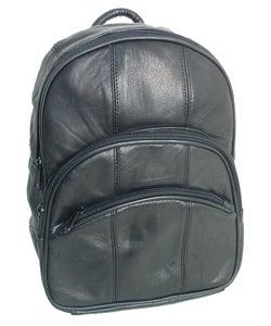 Adi Designs Triple Zipper Genuine Leather Backpack