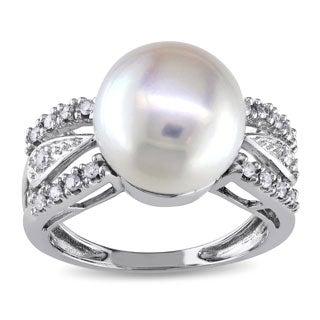 Miadora 14k White Gold 1/6 TDW Diamond Cultured Freshwater Pearl Ring (G-H, I1-I2)