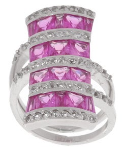 Glitzy Rocks Sterling Silver Pink Sapphire Bold Four-row Ring