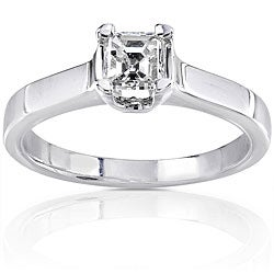 14k Gold 1/2ct TDW Asscher Diamond Solitaire Ring