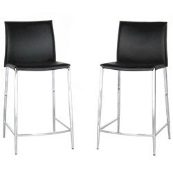 Broadway Black Leather Counter Stools (Set of 2)