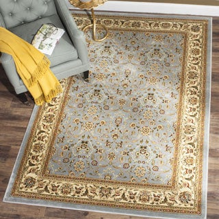 Lyndhurst Floral Motif Greyish Blue/ Ivory Rug (8' x 11')