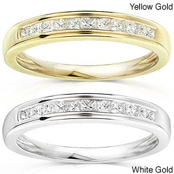14k Gold 1/4ct TDW Princess Diamond Wedding Band