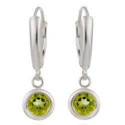 Glitzy Rocks Sterling Silver Peridot Leverback Earrings