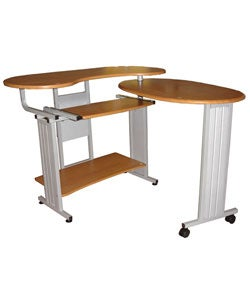 Fold Out L-shaped Oak Desk