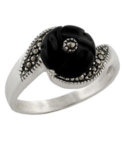 Sterling Silver, Black Onyx, and Marcasite Ring