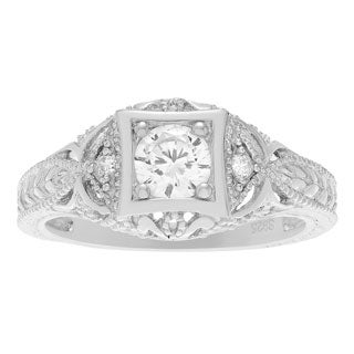 Tressa Collection Sterling Silver Vintage Art Deco CZ Bridal &amp; Engagement Ring
