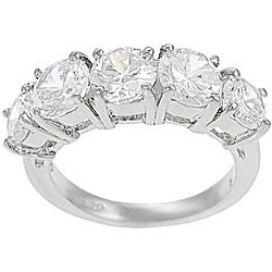 Tressa Collection Sterling Five Stone CZ Bridal &amp; Engagement Ring
