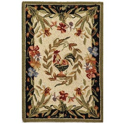 Safavieh Hand-hooked Rooster and Hen Cream/ Black Wool Rug (1'8 x 2'6)