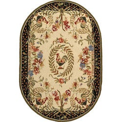 Hand-hooked Rooster Cream/ Black Wool Rug (4'6 x 6'6 Oval)