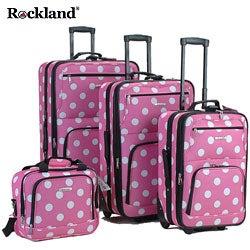 Rockland Pink Dot 4-piece Expandable Luggage Set