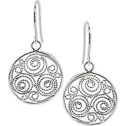 M by Miadora Sterling Silver Carved Circle Hook Earrings