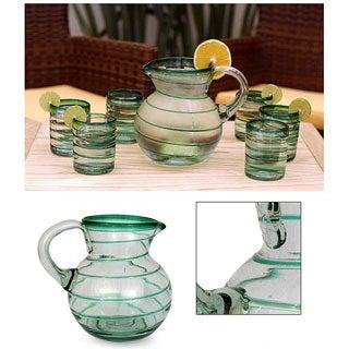 'Emerald Spiral' Glass Pitcher (Mexico)