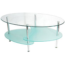 Modern Wave Frosted Glass 38-inch Coffee Table