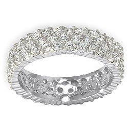 Simon Frank 14k White Gold Overlay 3-row CZ Eternity Band
