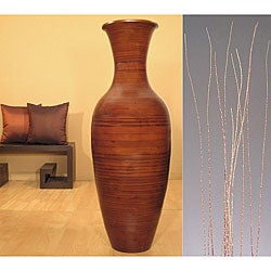 Salt Cedar with Cocoa Bamboo Floor Vase