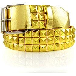 JK Belts Unisex 3-row Gold Studded Gold Belt