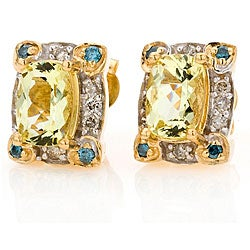 Michael Valitutti 14k Gold 1/4ct TDW Diamond Apatite Earrings