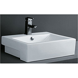 Porcelain Rectangular Bathroom Vessel Sink