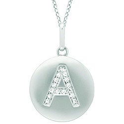 14k White Gold Diamond Initial 'A' Disc Necklace