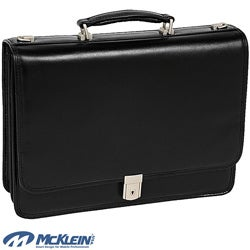 McKlein Black Lexington Double Compartment Laptop Briefcase