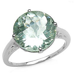Malaika Sterling Silver Genuine Green Amethyst Solitaire Ring