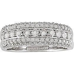 Miadora 14k Gold 3/4ct TDW Diamond 3-row Ring (H-I, I1-I2)