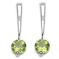 Malaika Sterling Silver Genuine Peridot Round-cut Earrings